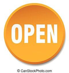 open orange round flat isolated push button