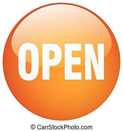 open orange round gel isolated push button