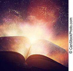 open, oud, boek, gefuseerde, met, magisch, melkweg, hemel, stars., literatuur, horoscoop
