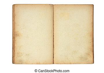 open, oud, leeg boek