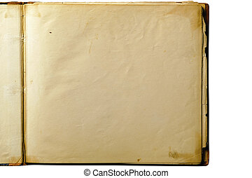 open, oud, leeg boek, vrijstaand, op wit