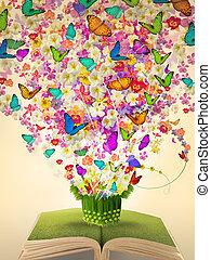 open, ouderwetse , boek, van, overvloed, bloem