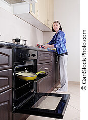 Open oven and yellow frying pan