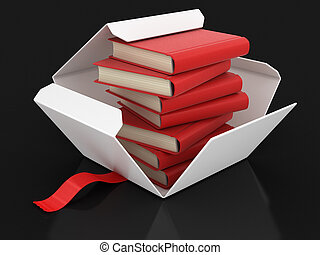 Open package with books