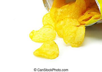 crisps  - open packet of crisps on white background