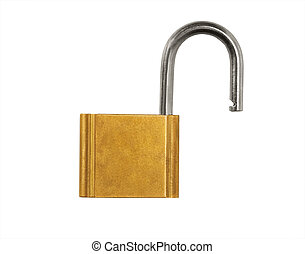 Open Pad Lock isolated on white background