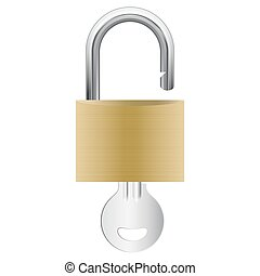 open pad lock attached with silver key