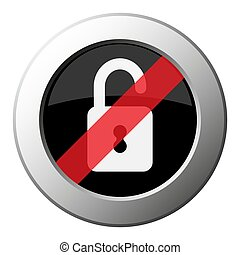 open padlock - ban round metal button, white icon