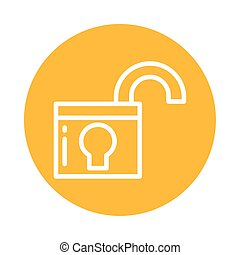 open padlock, block and flat style icon
