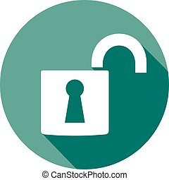 open padlock flat icon