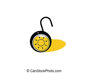 Open Padlock Flat Icon on white background in vector illustration