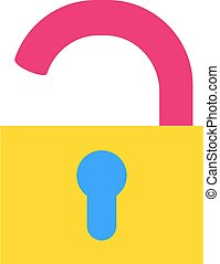 Open padlock flat vector icon