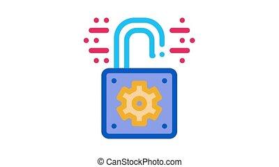 open padlock Icon Animation. color open padlock animated icon on white background