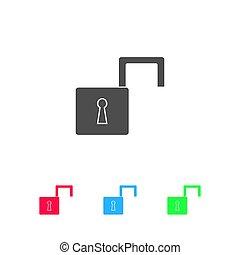 Open padlock icon flat.