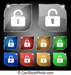 Open Padlock icon sign. Set of ten colorful buttons with...