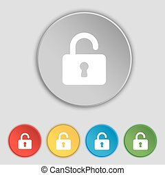 Open Padlock icon sign. Symbol on five flat buttons. Vector