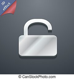 Open Padlock icon symbol. 3D style. Trendy, modern design with space for your text Vector