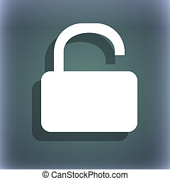Open Padlock icon symbol on the blue-green abstract background with shadow and space for your text.