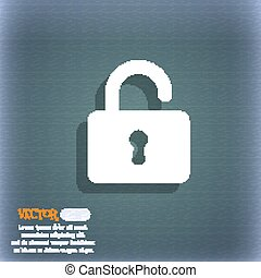 Open Padlock  icon symbol on the blue-green abstract background with shadow and space for your text. Vector