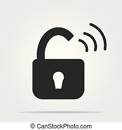 Open padlock icon with shadow on a white background, stylish vector illustration