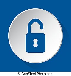 open padlock - simple blue icon on white button