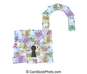 open padlock with euro notes