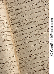 Open pages of antique notebook