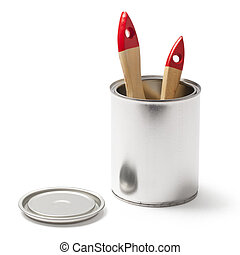 Open Paint Can and a Brushes with a Clipping Path