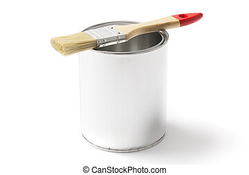 Open Paint Can with a Paint Brush