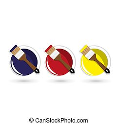 Open paint cans, top view. Vector illustration in a flat style.