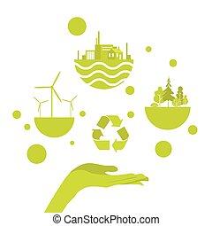 Open Palm Green Energy Concept Logo