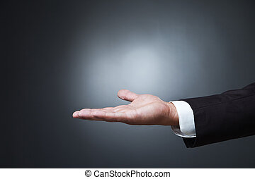 Open palm hand gesture of male on dark - Open palm hand ...
