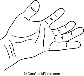 Open palm of the human hand contour of black brush lines on a white background. Asking gesture. Vector illustration.
