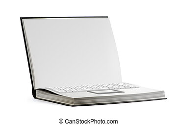 open paper book with keyboard on white background
