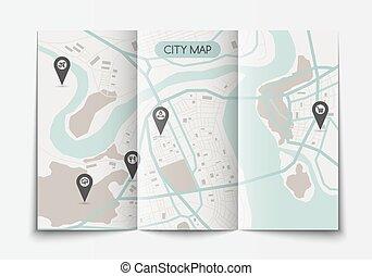 Open paper city map