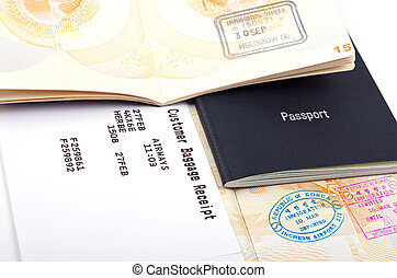 open passport and luggage card