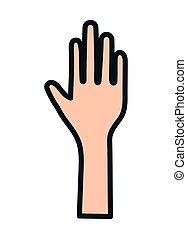open, pictogram, hand, het gebaar van het einde, verheven, menselijk