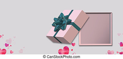 Open pink gift box top view