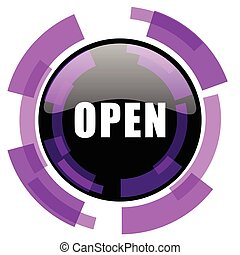 Open pink violet modern design vector web and smartphone icon. Round button in eps 10 isolated on white background.
