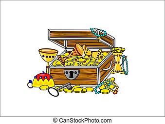 Open pirate treasure - treasure pirate open gold color...