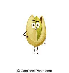 Open pistachio nut in shell kids emoji emoticon