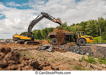 open-pit, camion, jaune, grand, truck., transport, ...