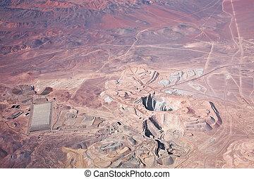 open-pit, cobre, aéreo, mina, chile, deserto, atacama, vista