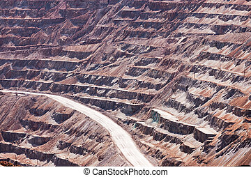 Open-pit copper mine industrial mining operation
