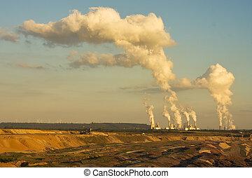 open-pit, lignite, gruvdrift, in, solnedgång