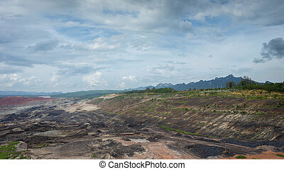 open pit lignite mine at mae-moh Lampang Thailand - Open pit...