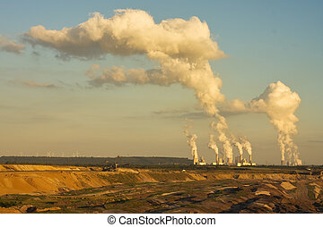 Open-pit lignite mining in sunset