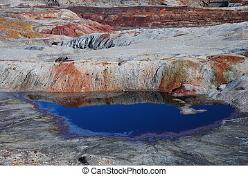 Open pit mine rocks in Riotinto, Spain.