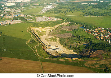 Open pit mine - Aerial view onto mineral open pit mine