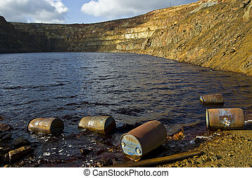 open pit mine with contaminated water